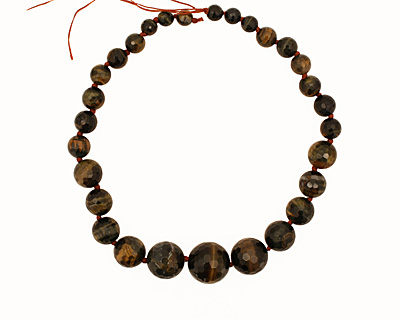 Blue Tiger Eye Faceted Round Graduated 8-20mm