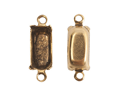 Nunn Design Antique Gold (plated) Rectangle Prong Setting 16x6mm