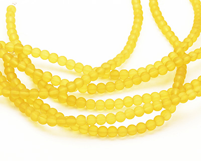 Lemon Recycled Glass Round 4mm