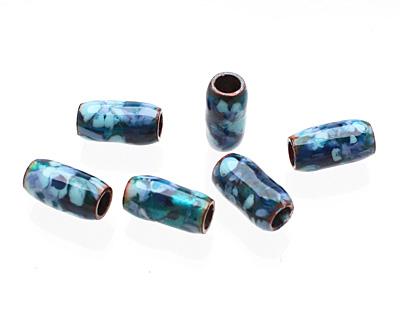 C-Koop Enameled Metal Blue Mix Barrel 13-14x6-7mm