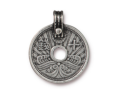 TierraCast Antique Pewter (plated) Asian Coin Pendant 21x26mm