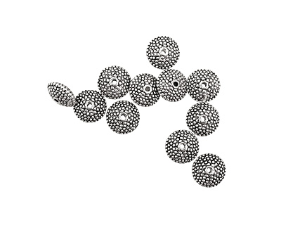 Pewter Dotted Rondelle 6x11mm