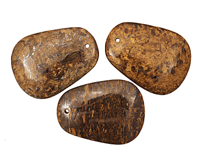 Bronzite Flat Teardrop Pendant 42x59mm
