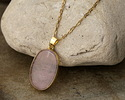 Rose Quartz Oval Pendant w/ Gold Plating 19-23x39-41mm