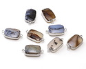 Natural Agate Rectangle Focal Link w/ Silver Plating 15-17x25-27mm