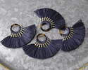 Deep Ocean Fanned Tassel on Tortoise Shell Acetate Ring 70x45mm