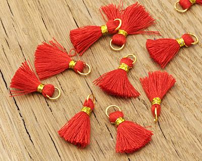 Red w/ Gold Binding & Jump Ring Thread Tassel 18mm