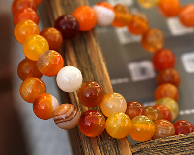 Orange Line Agate Round 8mm