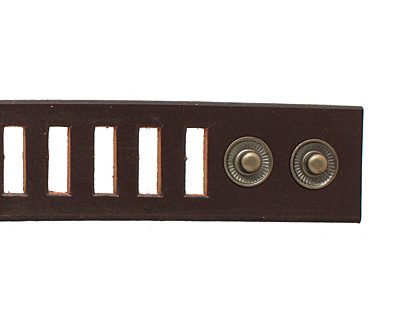 Brown Leather Ladder Cuff 1 3/8