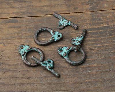 Greek Copper (plated) Patina Olive Leaf Toggle Clasp 10x14mm, Bar 15mm