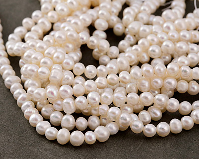Pearly White Freshwater Potato Pearl 6-6.5mm