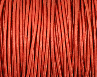 Moroccan Red (metallic) Round Leather Cord 2mm