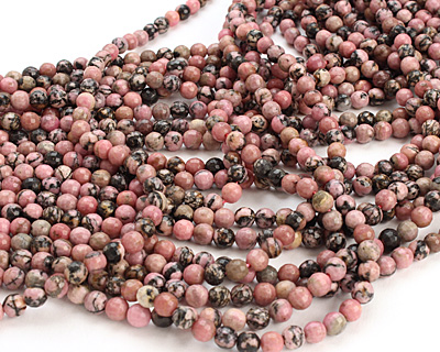 Rhodonite (w/ extra black matrix) Faceted Round 6mm