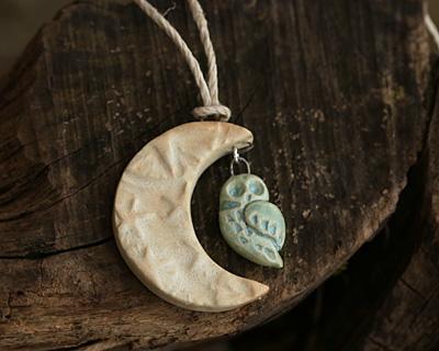 Gaea Ceramic Aqua on Buff Owl Charm 12-13x21-23mm
