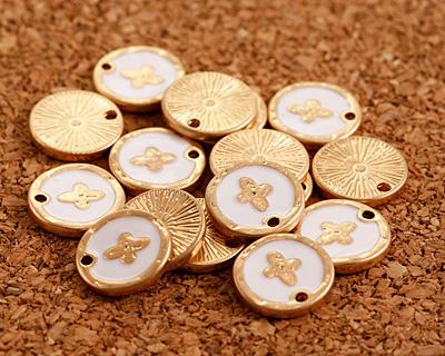 Zola Elements White Enamel Matte Gold Finish Cross Coin Focal 13mm