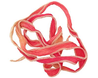 Strawberries & Cream Hand Dyed 100% Silk Ribbon 1/2