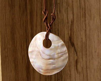 Shell Large Hole Coin Pendant 45-50mm