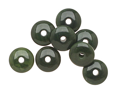 Tagua Nut Forest Green Rondelle 3x8mm