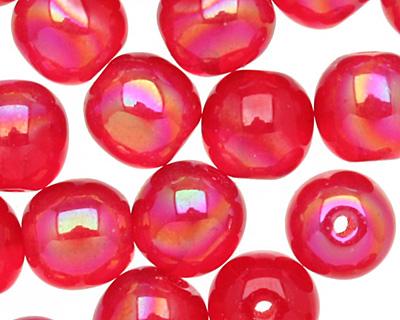 Czech Glass Luster Iris Red Round 6mm