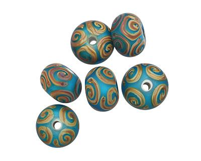 A Beaded Gift Aqua w/ Raku Spirals Tumbled Glass Rondelle 9-10x14-15mm