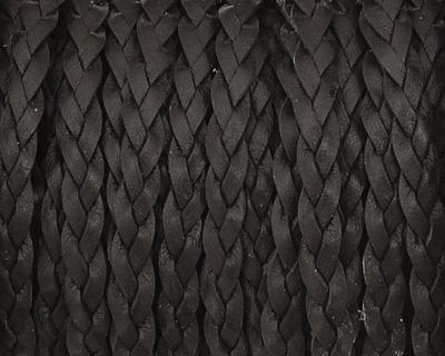 Black Flat Braided Leather Cord 5mm