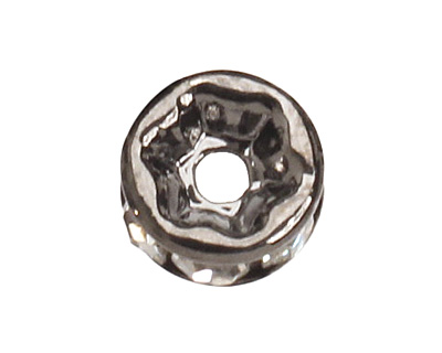 Gunmetal (plated) Crystal Rhinestone Rondelle 6mm