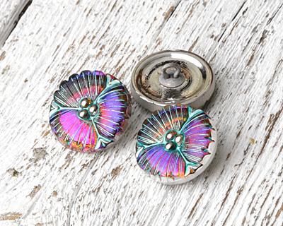 Czech Glass Electric Purple w/ Turquoise Wildflower Button 18mm