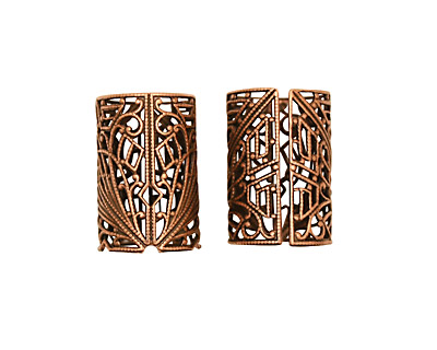Stampt Antique Copper (plated) Short Deco Filigree Tube 26x18mm