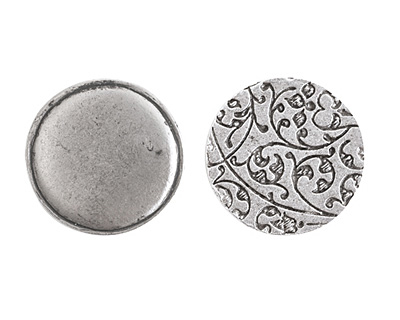 Nunn Design Antique Silver (plated) Crest Circle Tag 20.5mm