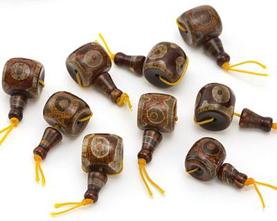 Tibetan (Dzi) Agate Barrel Guru Bead 17-18mm
