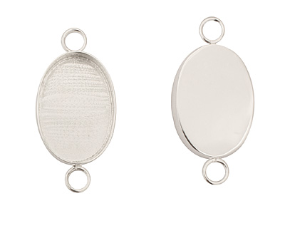 Silver (plated) Oval Bezel Link 29x20mm
