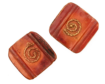 Patricia Healey Copper Square w/ Rope Spiral 2 Hole Bead 18mm