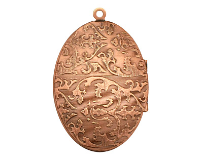 Antique Copper (plated) Oval Victorian Rose Heirloom Locket 27x41mm