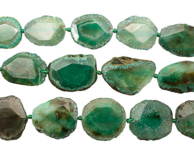 Green Agate Natural Edge Freeform Faceted Slab 41-52x18-38mm