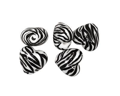 Grace Lampwork Zebra Stripes Heart 19-20mm