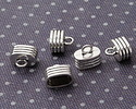 Antique Silver Finish Grooved Glue In Double 6mm Cord End 15x13mm