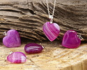Ruby Line Agate Heart Pendant w/ Silver (plated) Bail 20mm