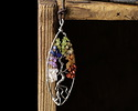 Chakra (Multi Stone) Silver Finish Wire-Wrapped Tree of Life Pendant 35x91mm