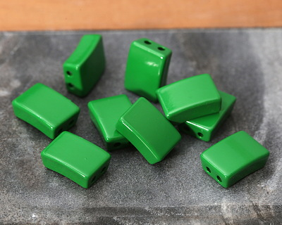 Kelly Green Enamel 2-Hole Tile Rectangle Bead 12x8mm