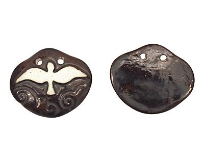 Earthenwood Studio Ceramic Oxidation Carved Flying Bird Pendant 42x35mm