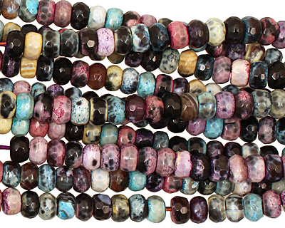 Graffiti Agate Faceted Rondelle 5x8mm