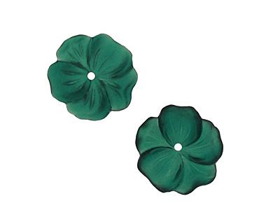 Matte Emerald Lucite Buttercup Flower 4x14mm