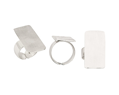 Silver (plated) Adjustable Rectangle Ring 28x15mm