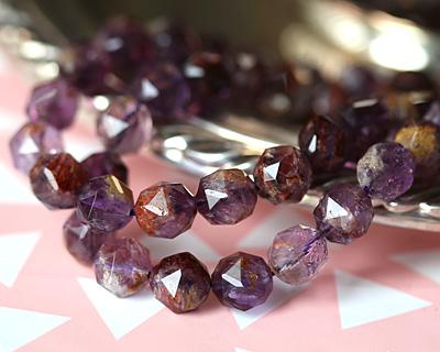 Purple Phantom Quartz (Auralite-23) Diamond Cut Faceted Round 10mm