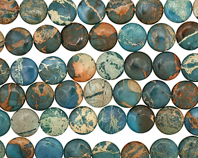 Turquoise Impression Jasper Puff Coin 16mm