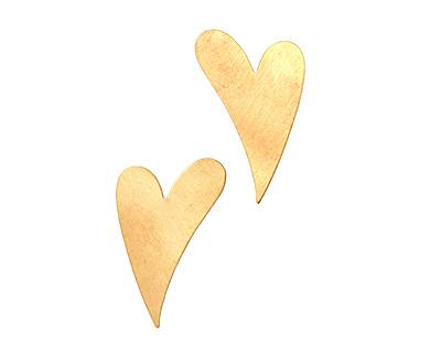 Brass Artisan Heart Blank 25x40mm