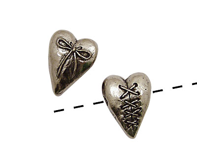 Green Girl Pewter Laced Heart 17x22mm