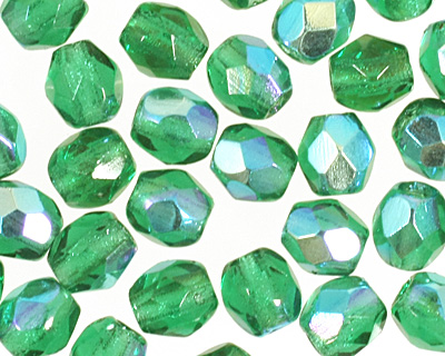 Czech Fire Polished Glass Emerald AB Round 3mm