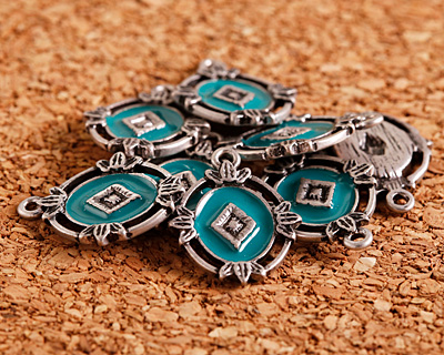 Zola Elements Turquoise Enamel Antique Silver (plated) Ornate Framed Oval Focal 15x20mm