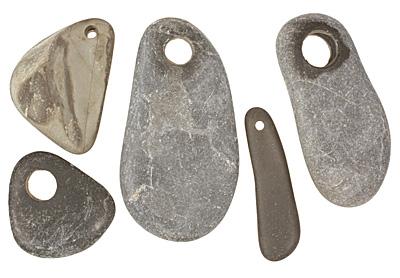 Black/Gray Beach Stone Pendant 8-23x19-42mm